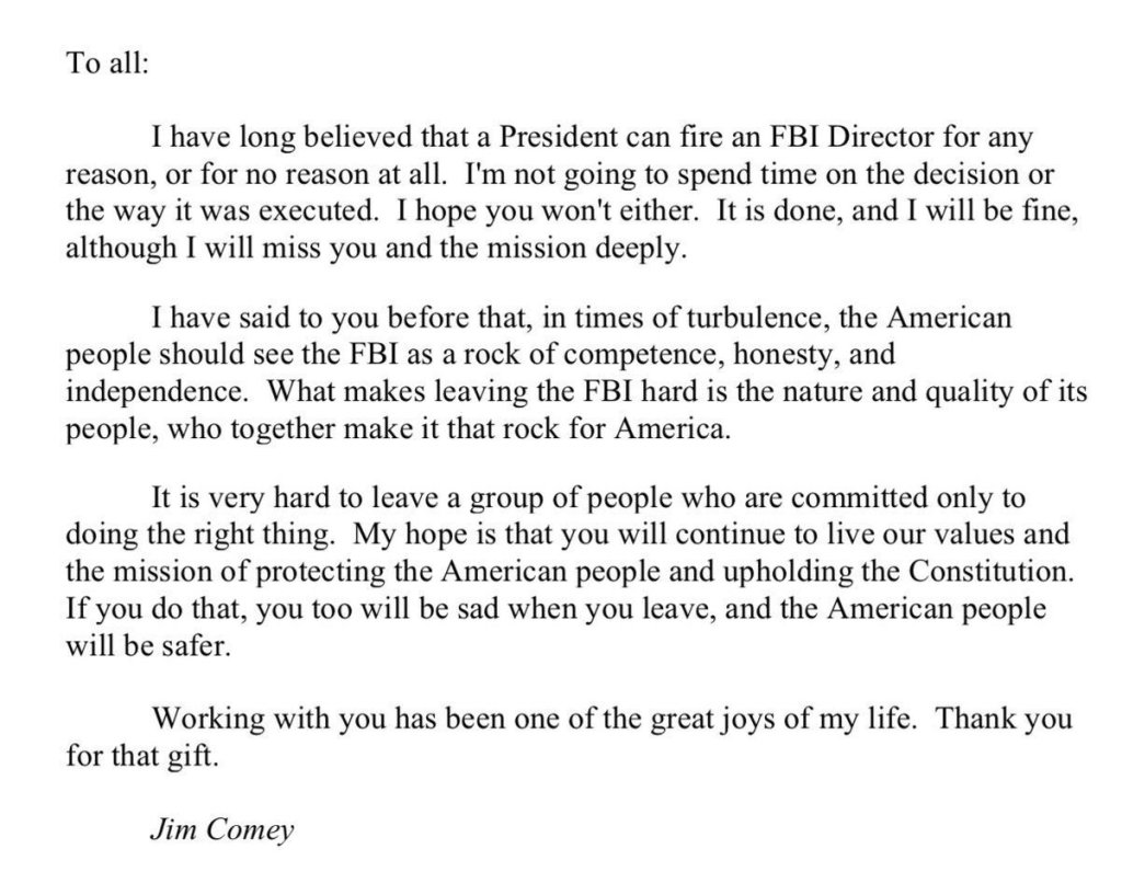 here is jim comeys touching farewell letter