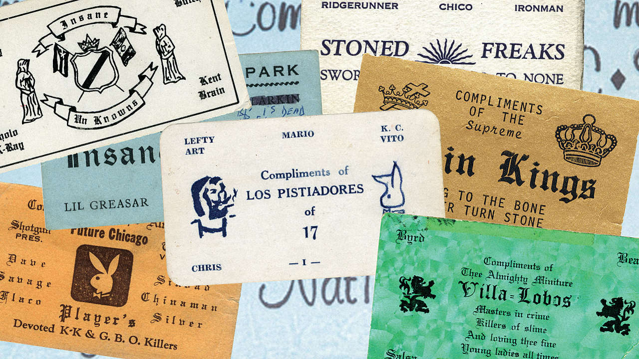 Decoding the symbols of 1970s gangs and their business cards for Chicago gang cards