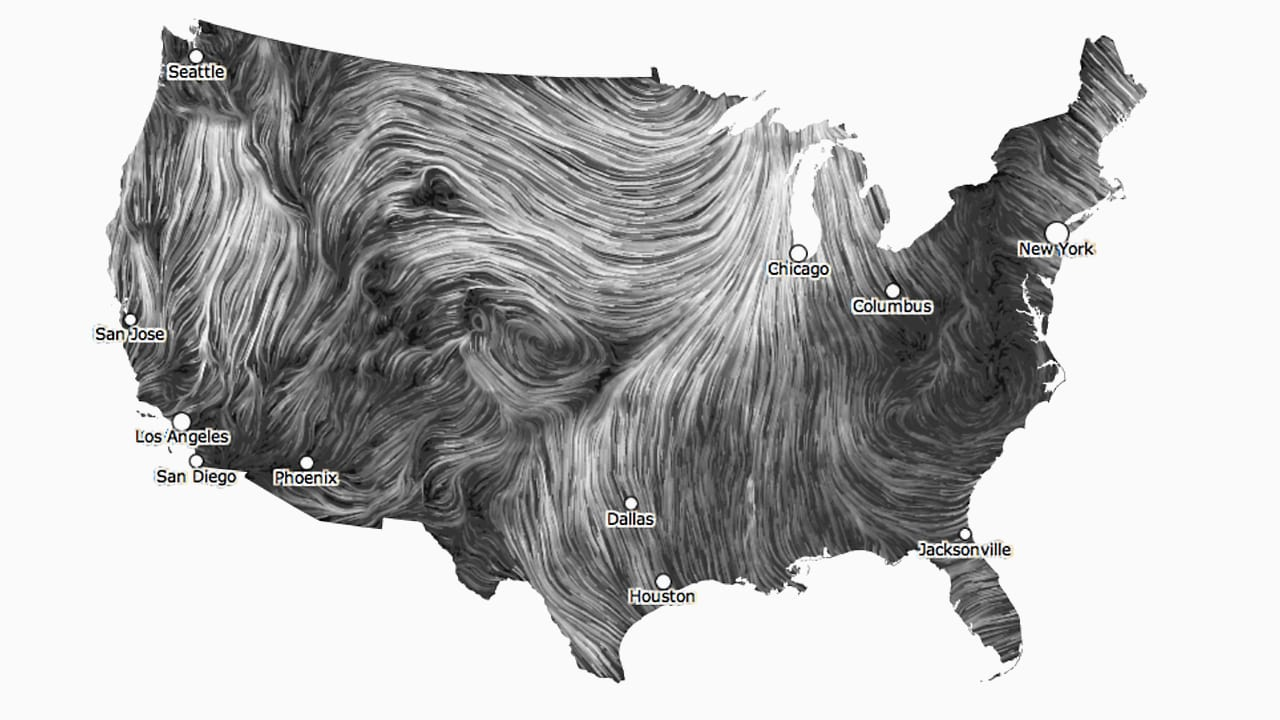 A Mesmerizing Visualization Of Wind In The U S The Future Of Business