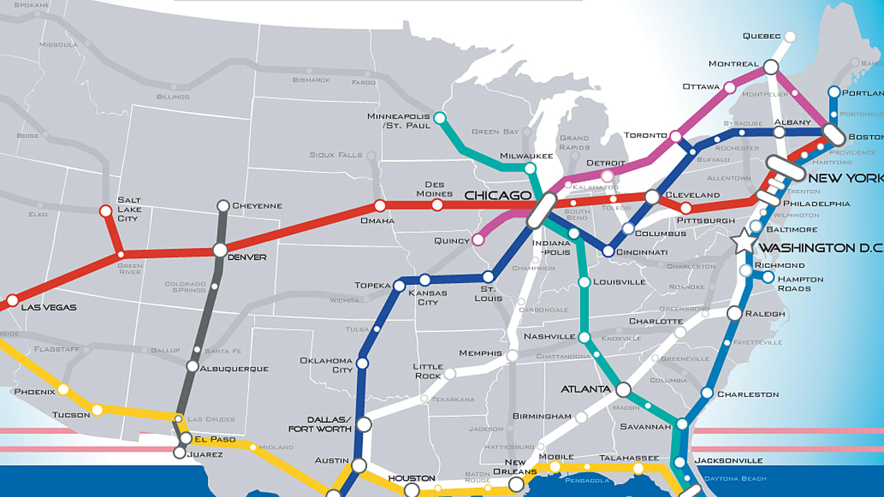 A Beautiful Vision Of An American HighSpeed Rail Map Fast Company - Map of the us rail system