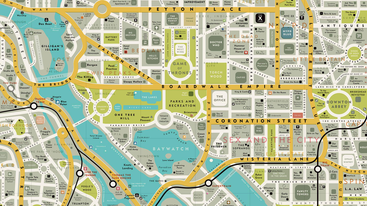 Infographic A Map Of Famous Places From Your Favorite TV Shows - Washington dc map conspiracy