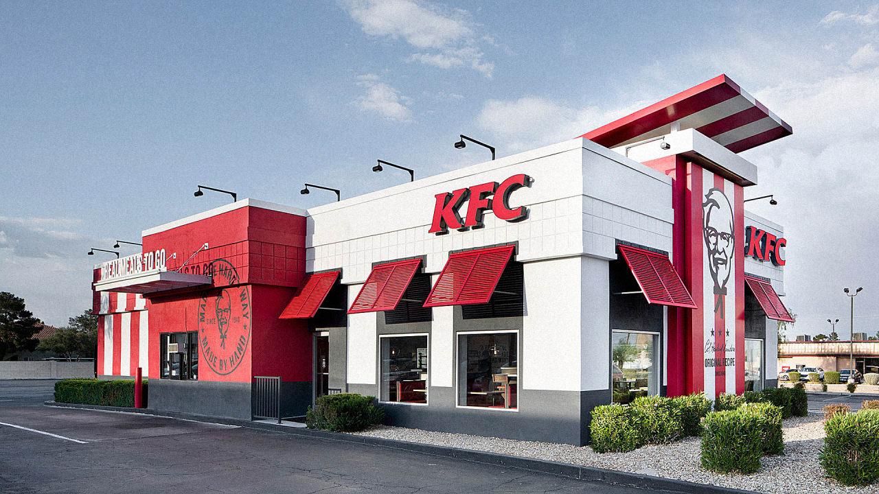 kfc s redesigned store looks like a half finished banksy co design. Black Bedroom Furniture Sets. Home Design Ideas
