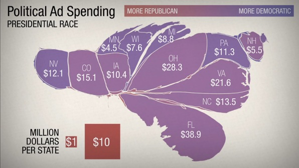 Npr S Adam Cole Posted A Pretty Illuminating Exercise In Creative Cartography Yesterday Visualizing The U S Map Based On How Much Money Is Being Spent