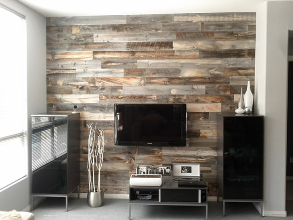 However, all the wood underneath the desired top layer is then reused as  non-reclaimed-looking panels. - Peel-And-Stick Wood Panels Provide An Instant Reclaimed Look