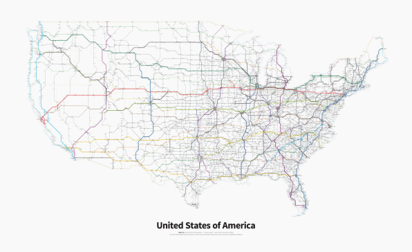 Every Single Highway In The United States In One Simpli CoDesign - Usa map black
