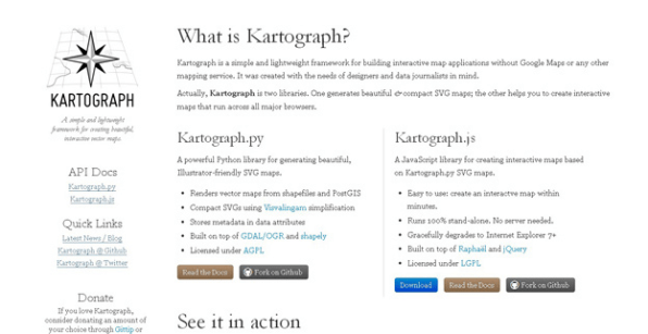 Kartograph Is A Framework For Creating Interactive Maps Without Any Mapping Provider Like Google Maps It Consists Of Two Libraries A Python Library That
