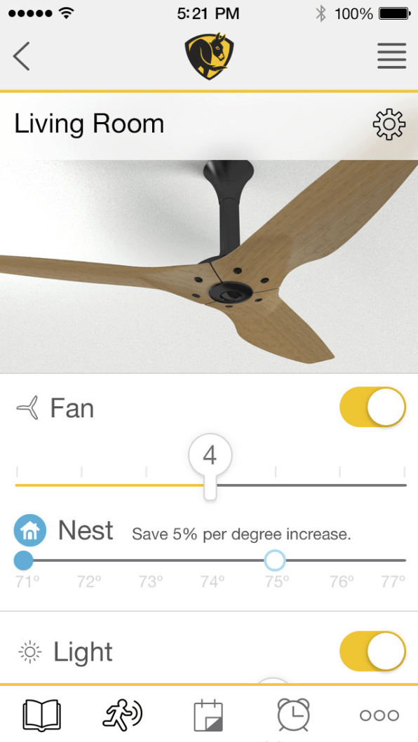 this smart ceiling fan links with nest to make your ac fast company. Black Bedroom Furniture Sets. Home Design Ideas