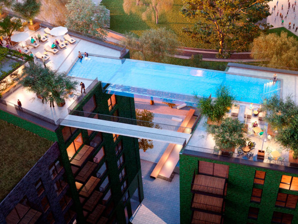 Sky Pool floating above london, this invisible pool lets you swim laps in