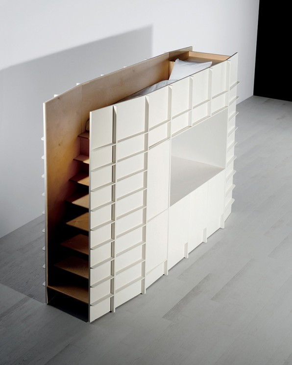 Then Thereu0027s Block, Which Looks Like A Cabinet From One Angle But Actually  Holds Up A Narrow Bed Up Top. The Sleeping Space Is Accessible Via A ...