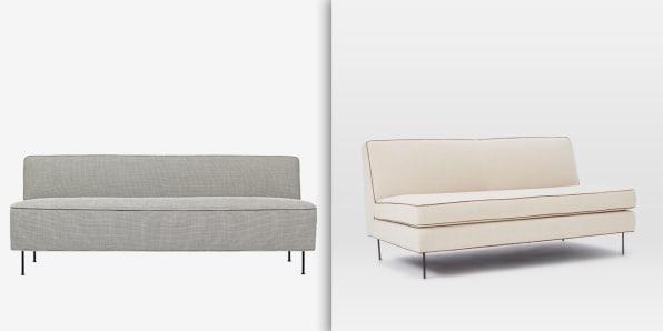 used west elm furniture. a sofa by greta grossman left and one west elm commune right modern line via gubi used furniture