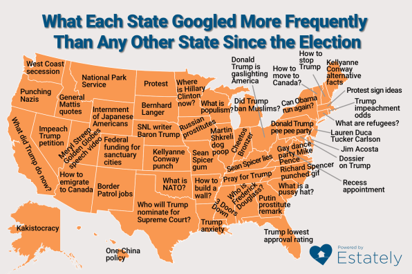 This Map Of What Each State Has Googled Most Since The Fast Company - Map with us elected contact info