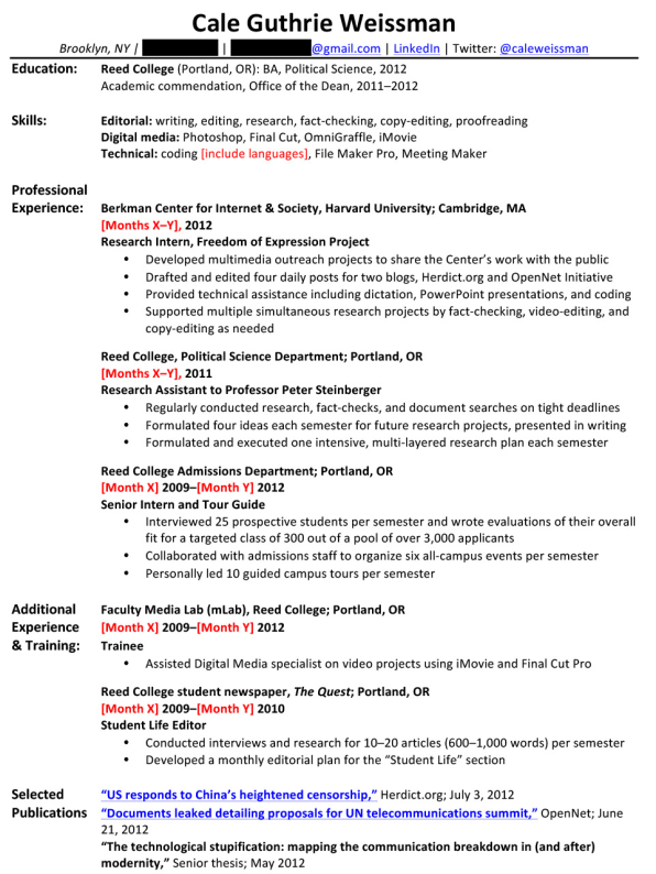 so what would weissmans entry level resume look like after incorporating this feedback from all three experts probably something like this - Tour Guide Resume