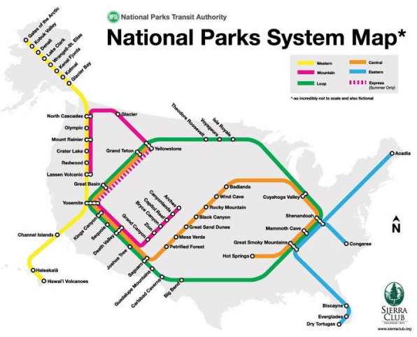 Visualizing The National Park System As A Subway Map Fast Company - Park and forest systems us map