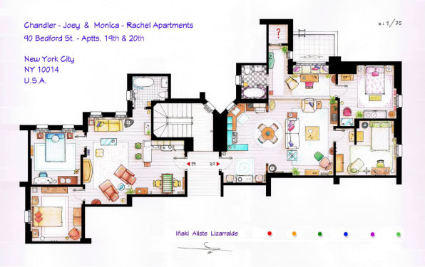 """Floor Plans For Apartments an interior designer explains the unlikely apartments of """"friends"""