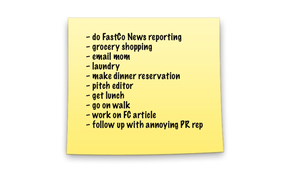 And now here's my new to-do list. This is the format and method I hit on about day five, and I've been able to complete all my daily lists every day since.