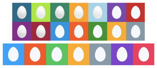 Twitter's 2010 egg designs, and the revised 2014 version, which reduced the color variety and eliminated the 3-D shadow effect