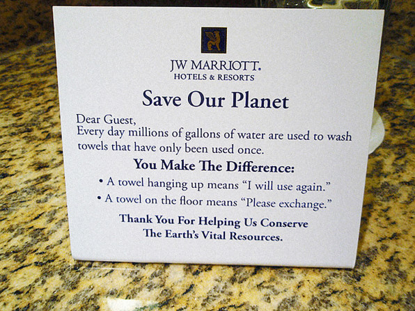 Hotel Rooms Message Environmental Washing Towels Same Room Cialdini