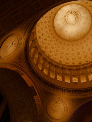 The opulent rotunda at San Francisco City Hall was the site of a invite-only networking dinner between the Warriors' players and Silicon Valley tech execs and VCs in October. Photos: Damien Maloney for Fast Company