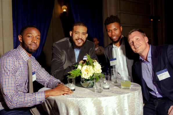From left, the Warriors' Ian Clark and JaVale McGee, with actor and entrepreneur Kez Reed and Justin Caldbeck, co-founder of Binary Capital. Photos: Damien Maloney for Fast Company
