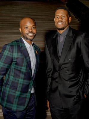 Investor Rudy Cline-Thomas and Andre Iguodala of the Golden State Warriors, who have worked together for years, at the City Hall dinner in San Francisco in October. Photos: Damien Maloney for Fast Company