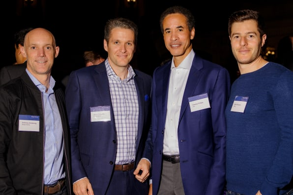 Valley players From left, Morgan Stanley co-head of tech M&A Anthony Armstrong, managing director Owen O'Keeffe, Infor CEO Charles Phillips, and Snap VP of partnerships Ben Schwerin at the City Hall dinner. Photos: Damien Maloney for Fast Company