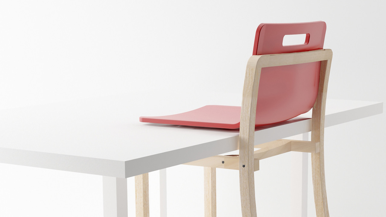 A Chair That Cantilevers Off A Table's Edge, So You Can Clean The Floor Beneath