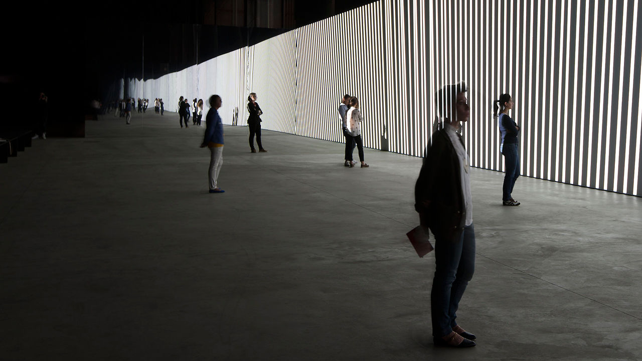 A 130-Foot Display For Mesmerizing Monochrome Abstractions