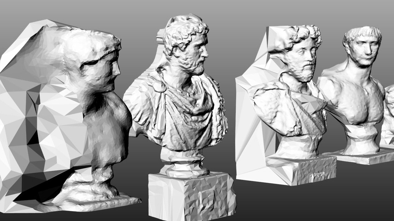 A 3-D Model Merges The Busts Of 5 Roman Emperors