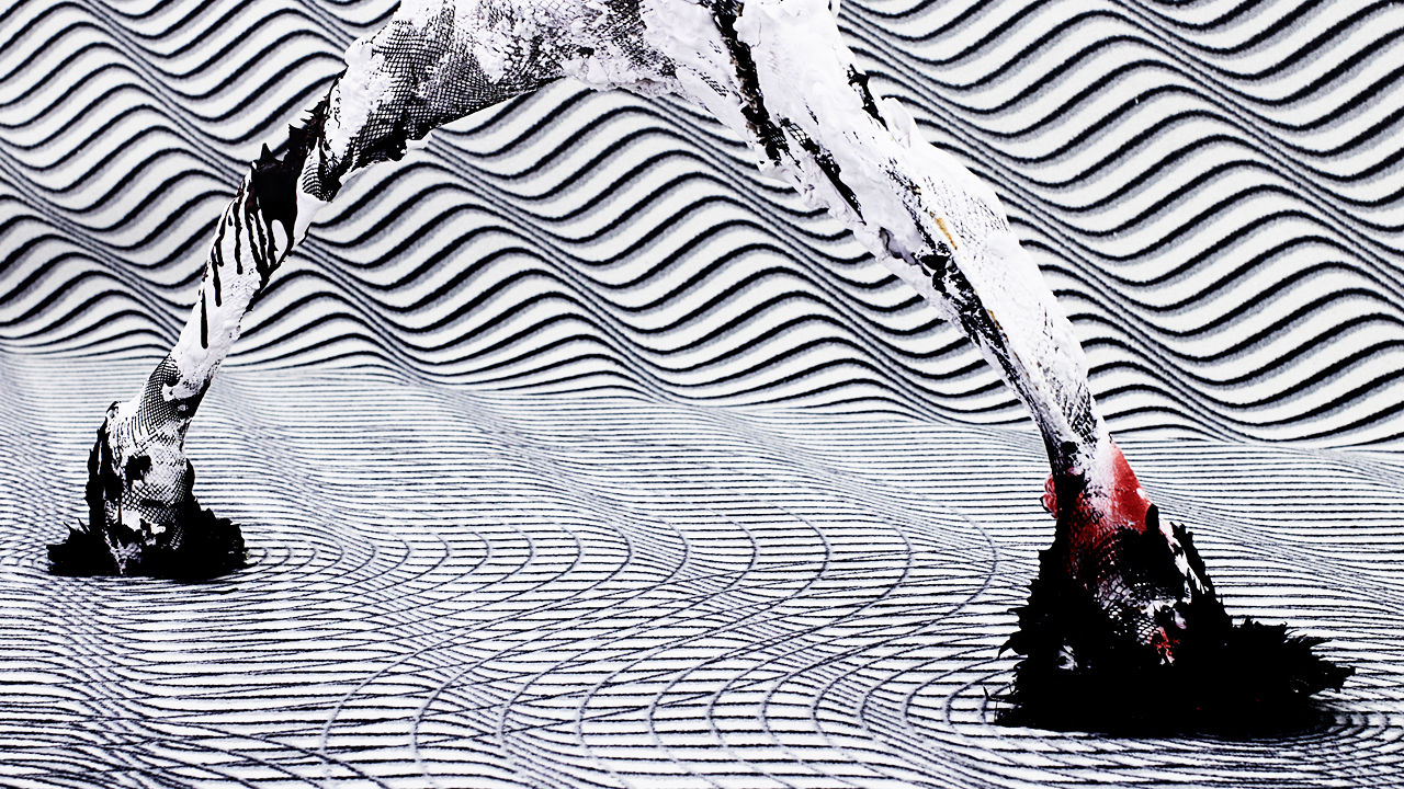 A Surreal Landscape Made Of Magnetic Plastic And Pantyhose