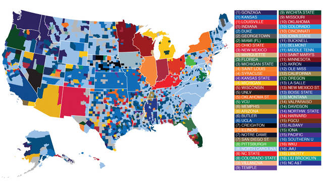 Infographic: Facebook's Data Geeks Map March Madness