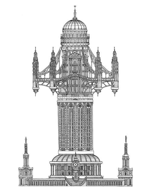 Exellent Architectural Drawings Of Skyscrapers With Design Decorating