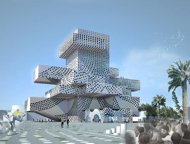 Wild new israeli theater looks like a cubist boom box for Idf architecture