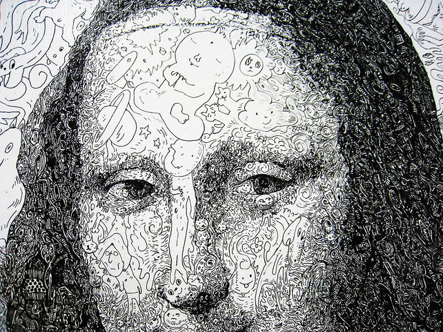 Mona Lisa, From a Thousand tiny sketches, close up