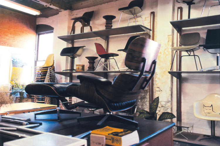 <p>The lounge and ottoman in its place of birth, the Eames studio.</p>