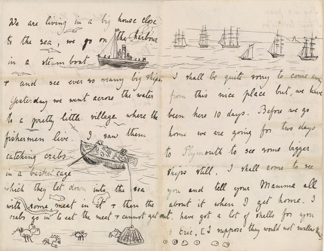 <p>Crab catchers get the visual treatment in a letter to Noel in an 1892 letter to Noel.</p>