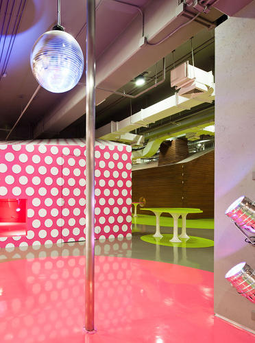 <p>No student lounge is complete without a disco ball… or a pole!</p>