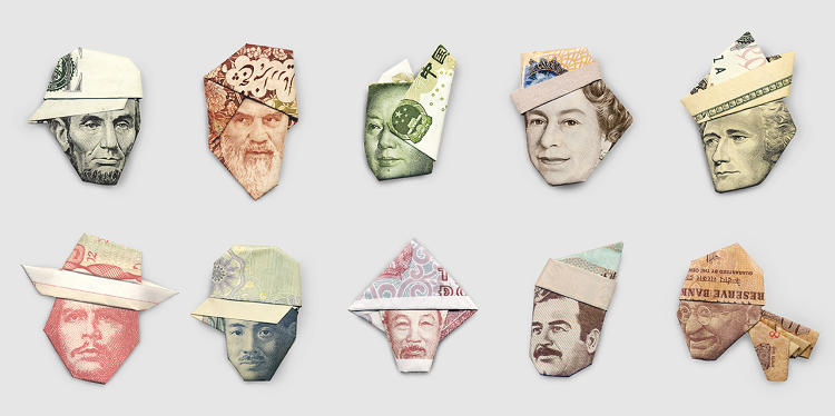 <p>Yosuke Hasegawa has collected bills from all over the world to transform into Moneygami.</p>