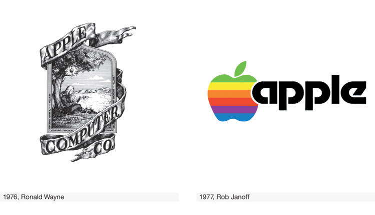 <p>Apple's original 1976 logo, by Ronald Wayne, was a far cry from the simplicity Steve Jobs professed. Rob Janoff designed the famous rainbow apple a year later, using the analog tools of pencil and colored paper.</p>
