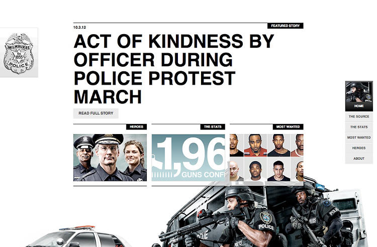 <p>The website's splash page emphasizes a single, bold story that stands for how the police affect the community.</p>