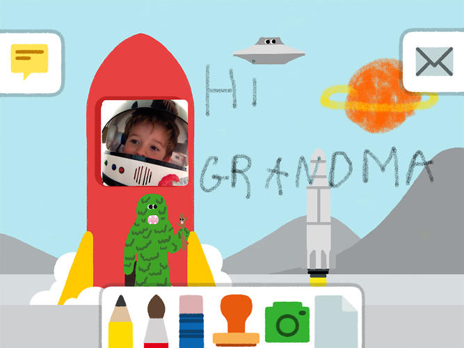 <p>It's easy to add photos taken on the iPad. Older kids can write messages, too.</p>
