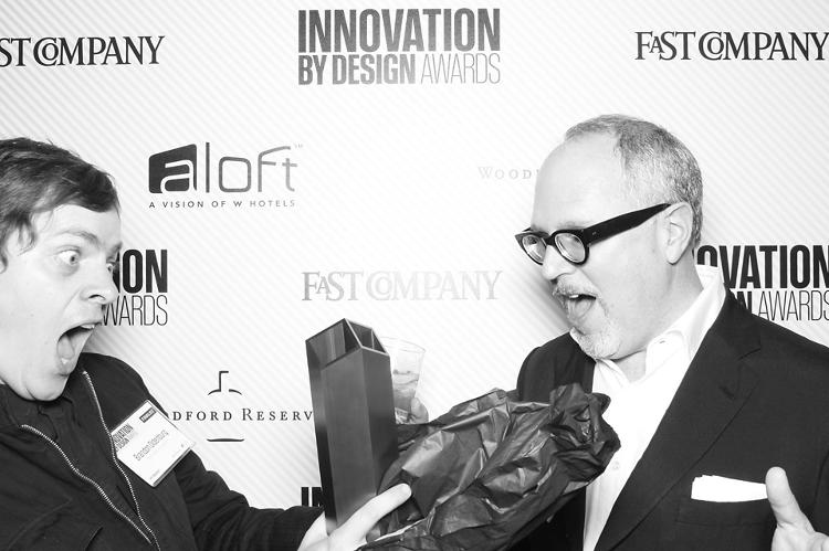 <p>Brandon Oldenburg and William Joyce, the founders of Moonbot studios, unwrap their finalist trophy, which they earned for <em>The Numberlys</em>.</p>