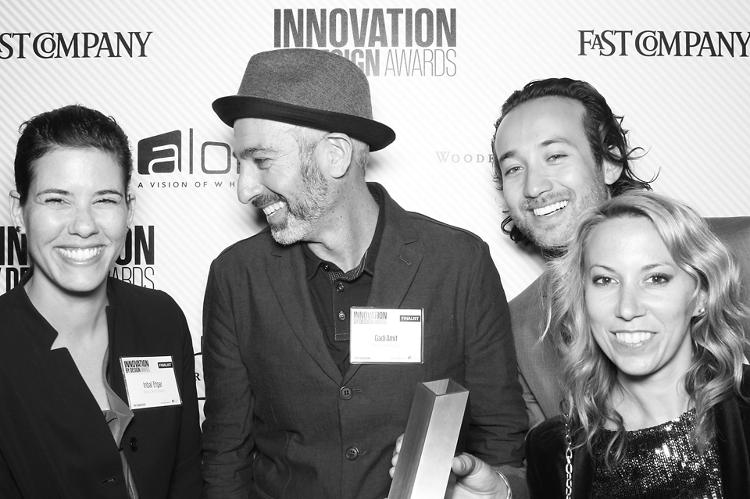 <p>Gadi Amit, center left, and Chad Haber, center right, with some members of the team at NewDealDesign, the company who designed our trophy.</p>