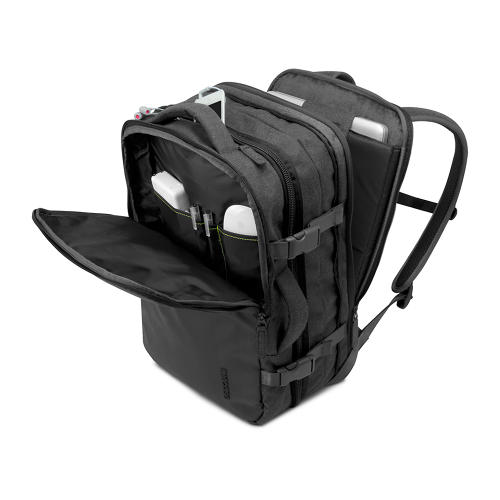 <p>In its unexpanded form, the backpack complies with most international-airline carry-on size requirements. It contains a slip pocket for a 17-inch Mac Pro and organizer pockets for chargers, cables, and other gadgetry.</p>