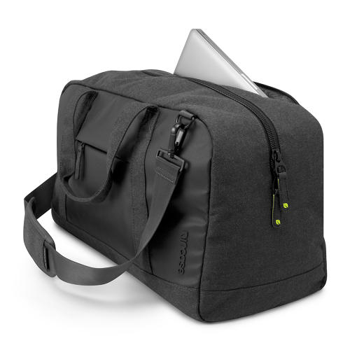 <p>The duffle has an extra-large main compartment for clothing, a padded 15-inch notebook sleeve, and a removable shoulder strap.</p>
