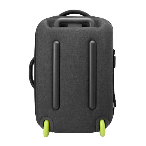 <p>The polycarbonate hard-shell front protects fragile contents. In addition to a slip pocket for an iPad, it has a MacBook compartment that opens flat to pass easily through airport security.</p>