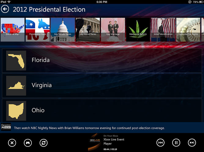 <p>This is SmartGlass during the presidential election. While you watched NBC coverage on Xbox, SmartGlass displayed live polls, an election map, and explorable topics by state.</p>
