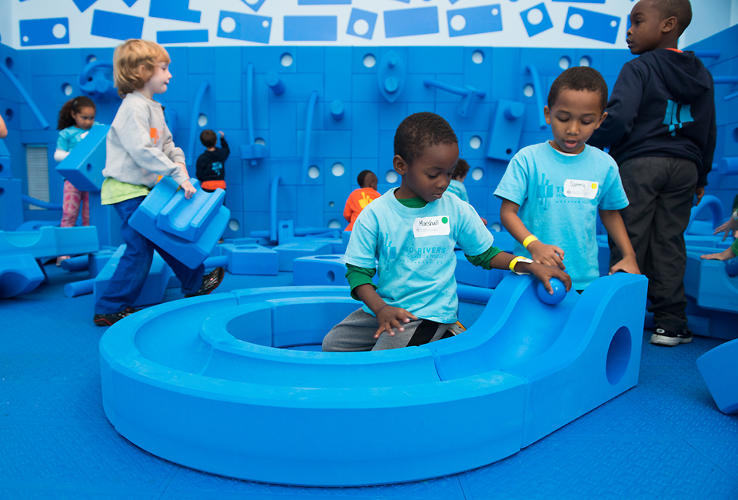 <p>The exhibit's centerpiece, though, is a full-scale installation of architect David Rockwell's Imagination Playground kit.</p>