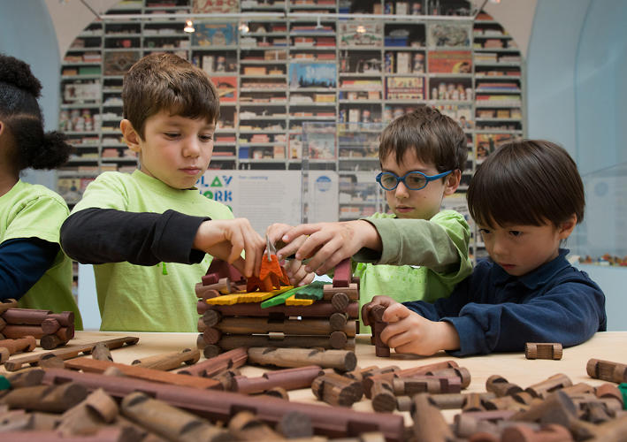 <p>Meanwhile, a massive series of shelves offer more than 2,300 architectural and construction games, from Froebel Blocks to Tinker Toys.</p>