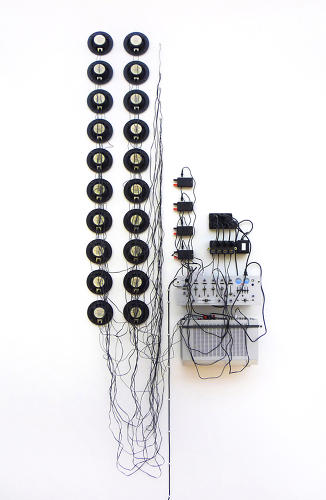 <p>Sometimes he starts with a material, sometimes the idea comes first. SHIFT, shown here, is made from speakers, amplifier, sound mixer, cables, circuits, voltage transformers.</p>