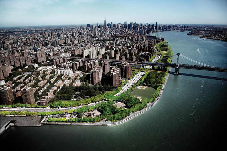 <p>Seen from the south, the East River Blueway is a plan to transform a four-mile stretch of land into publicly accessible parkland.</p>